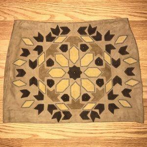 Haute Hippie $495 Stud Suede Appliqué Skirt Small
